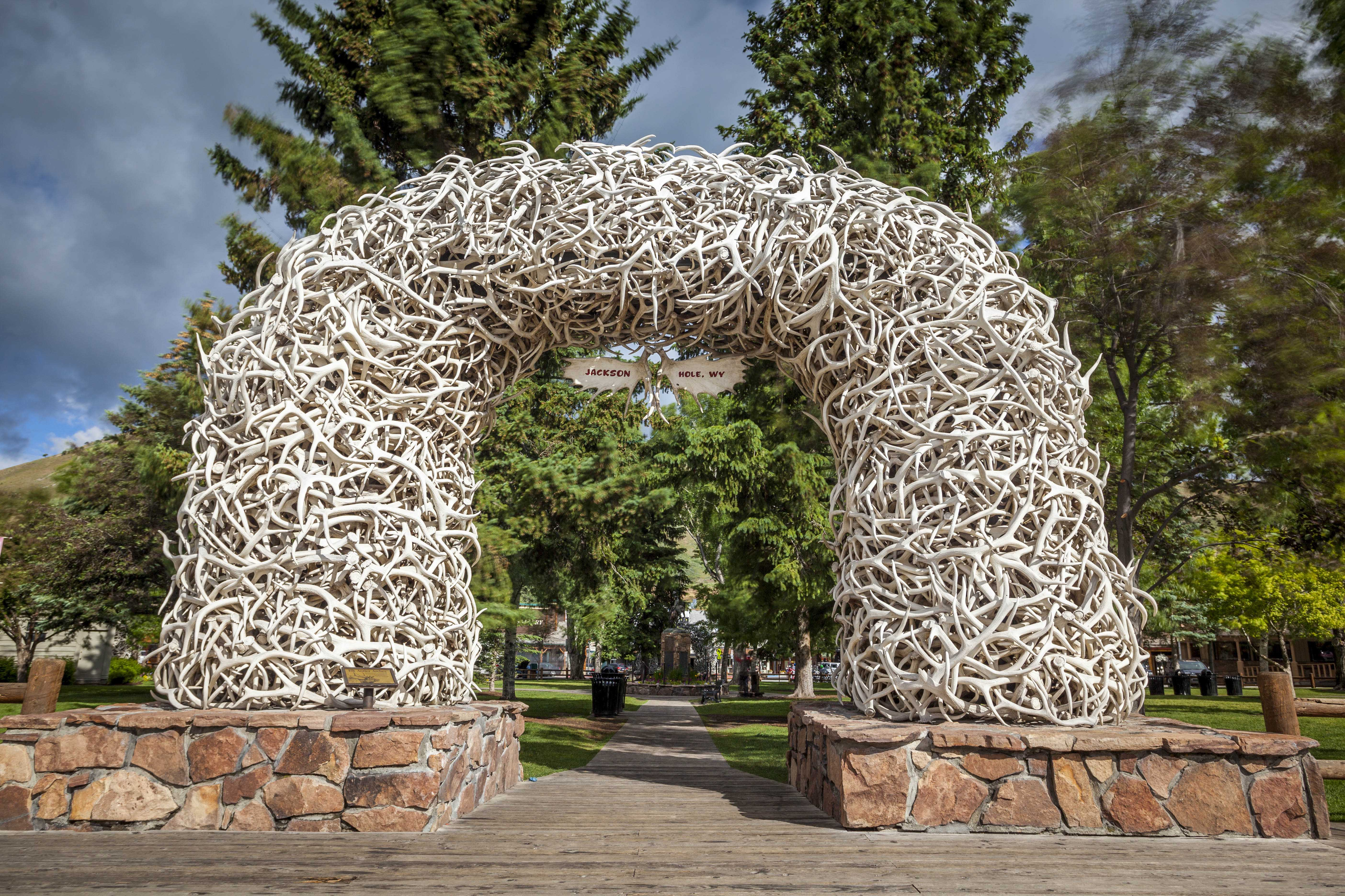 Elk Antler Arches in Jackson Town Square, Wyoming, USA