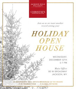 JHREA Holiday Open House, Dec. 12, 5:00 - 7:00 pm, 80 W. Broadway