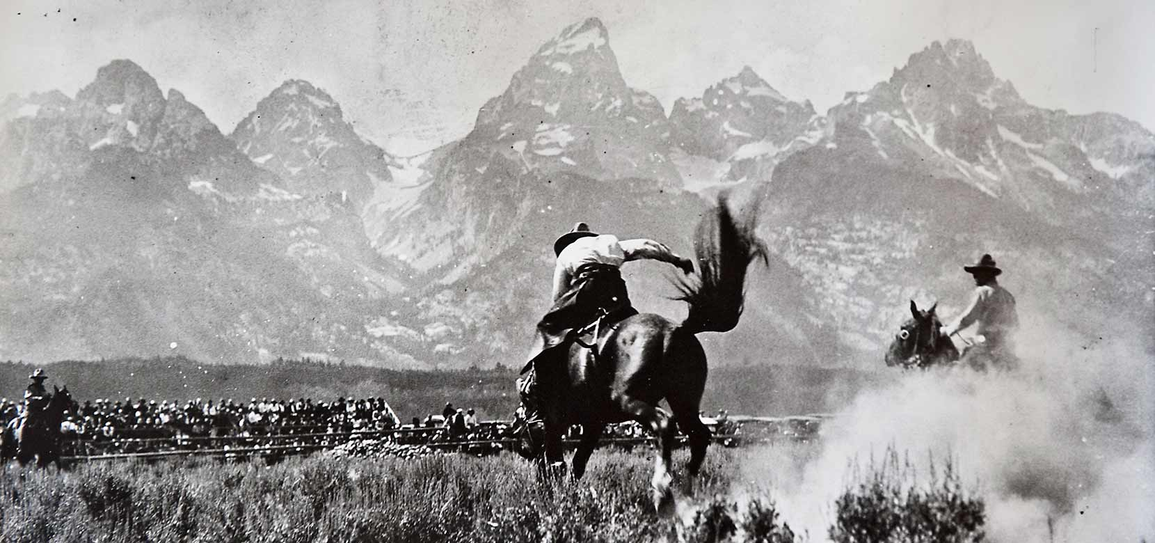 A rodeo at the base of the Grand Tetons, circa 1935.