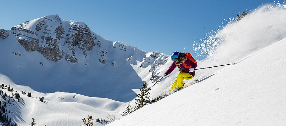 A skier at JHMR enjoys a record snow year