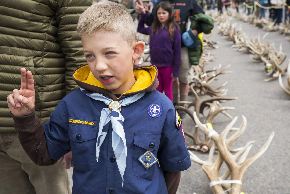 A Scout stands alongside a collection of antlers.
